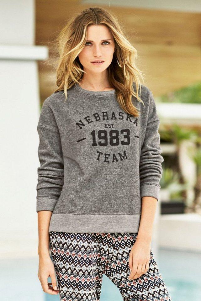 Next Sweatshirt mit Schriftzug und Rundhalsausschnitt in Grau