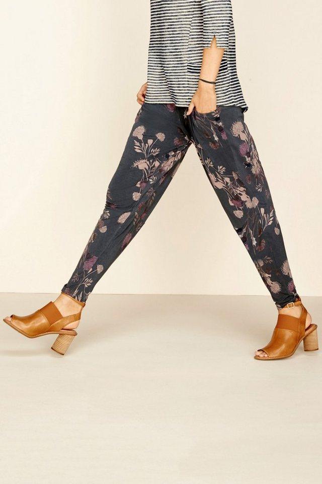 Next Jersey-Hose mit schmal zulaufendem Bein in Grau geblümt