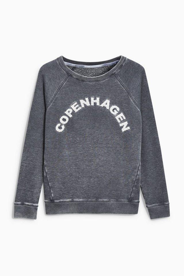 Next Sweatshirt mit Schriftzug in Marine