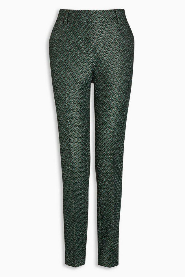 Next Jacquard-Hose mit schmal zulaufendem Bein in Grün