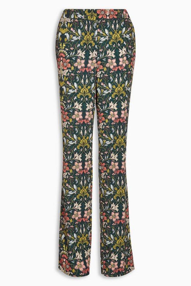 Next Hose mit geradem Bein und floralem Muster in Grün