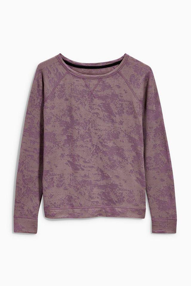 Next Sweatshirt mit Ausbrennermuster in Violettfarben