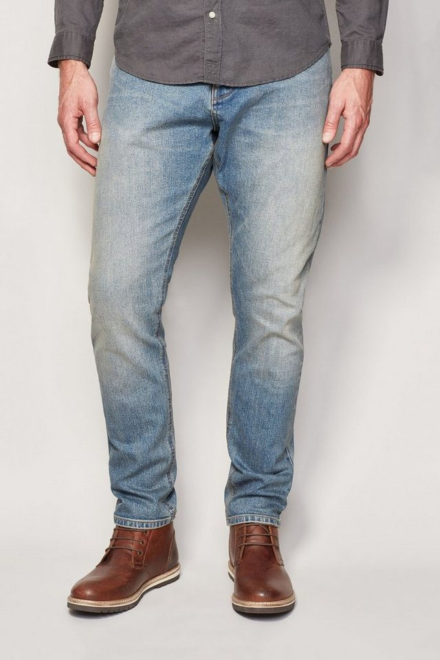 Next Tapered-Fit Bleach Wash Stretch-Jeans in Blau Tapered-Fit