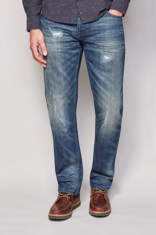 Next Straight-Fit Mid Blue Distressed Stretch-Jeans in Blau Straight-Fit