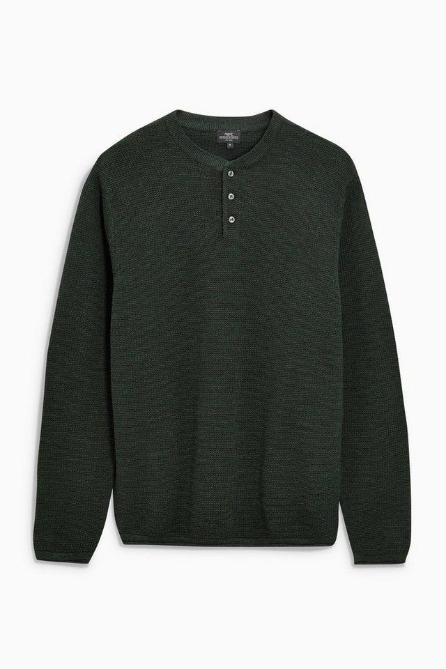 Next Strukturiertes Sweatshirt mit Knopfleiste in Grün
