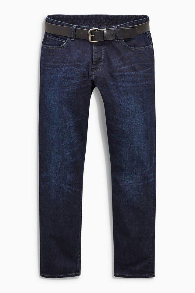 Next Slim-Fit Ink Blue Stretch-Jeans mit Gürtel 2 teilig in Blau Slim-Fit