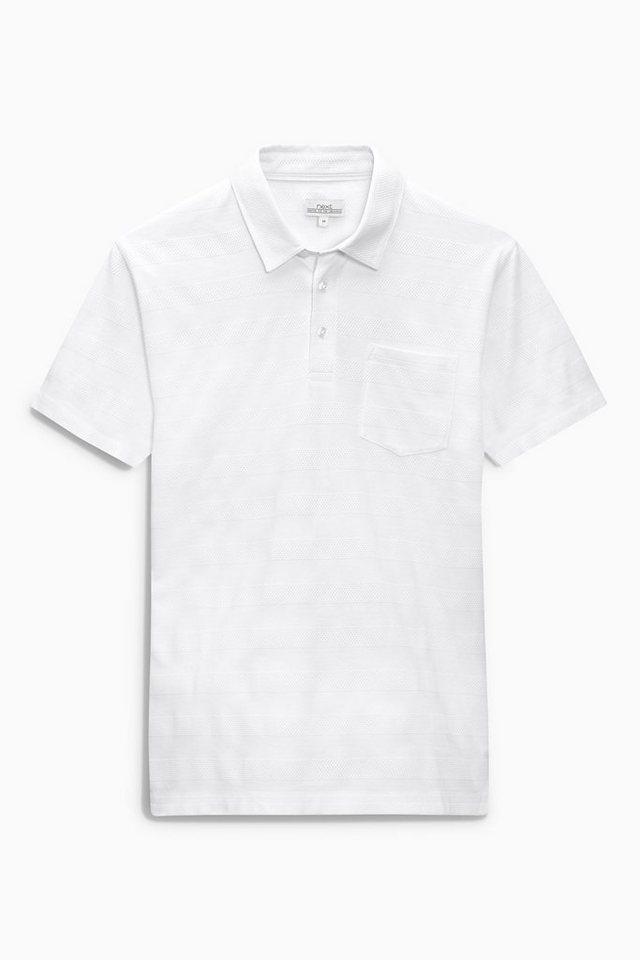 Next Poloshirt mit Strukturstreifen in Weiß