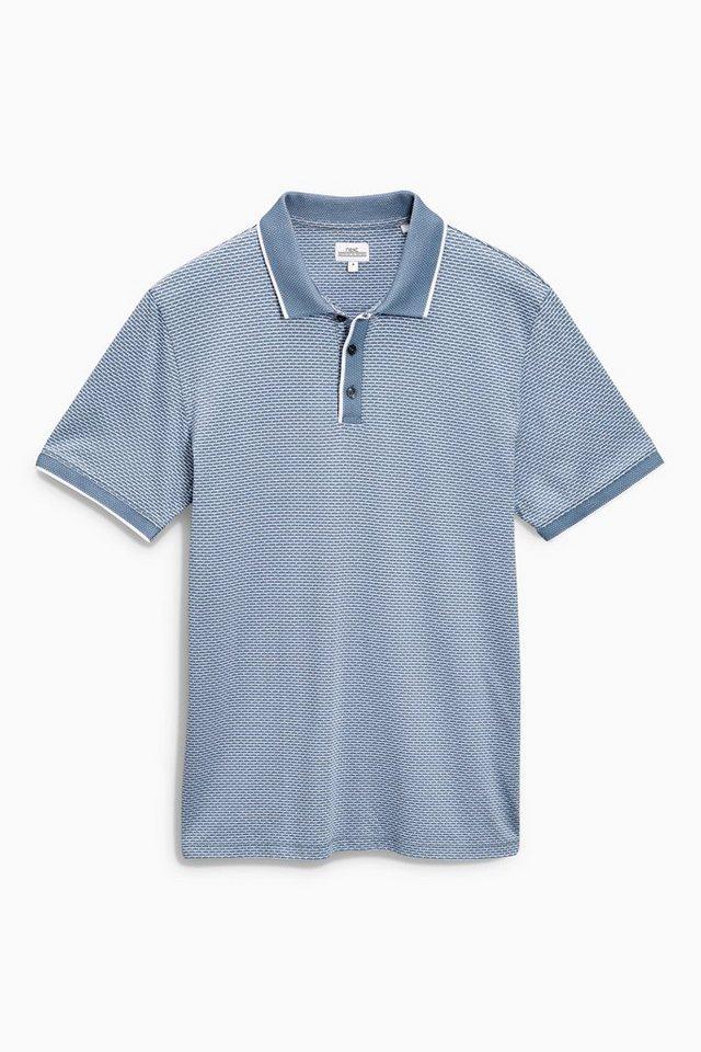 Next Poloshirt mit Jacquardmuster in Blau
