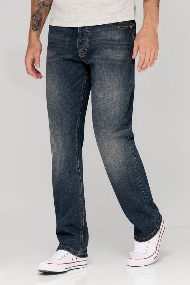 Next Loose-Fit Dirty Denim Stretch-Jeans in Blau Loose-Fit