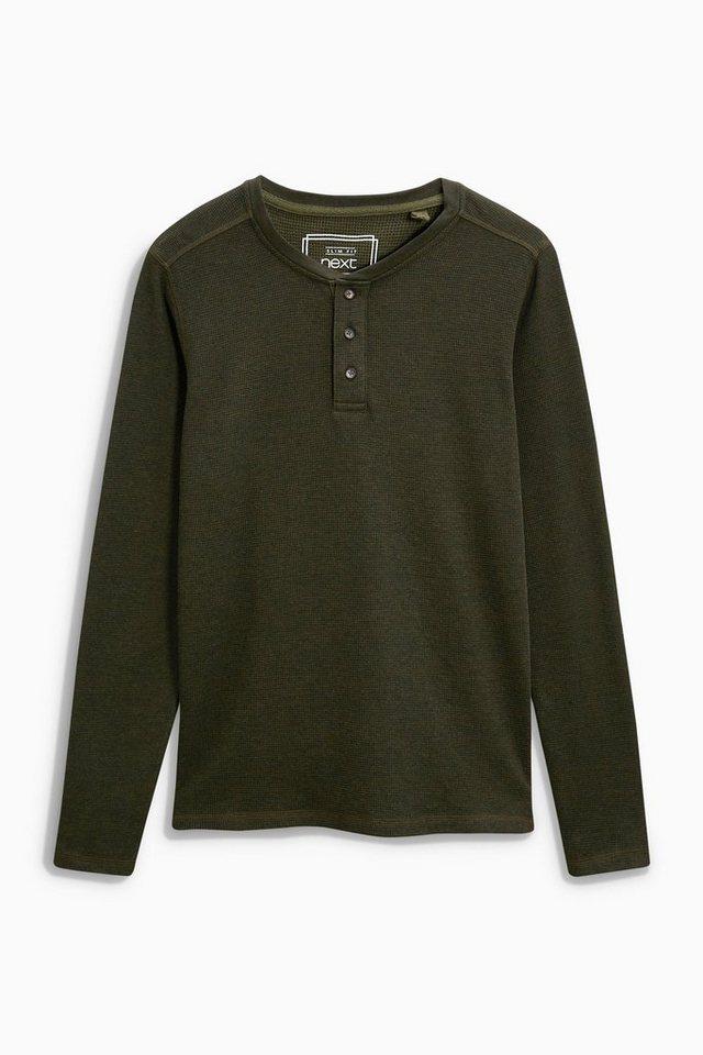 Next Shirt mit Knopfleiste und Waffelmuster in Khaki