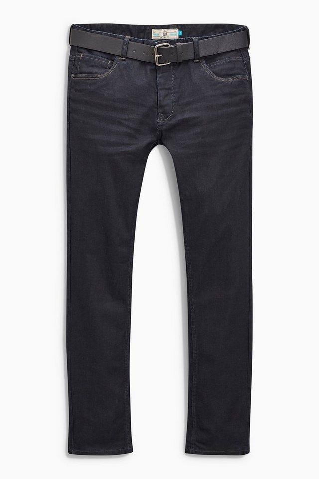 Next Slim-Fit Coated Raw Denim Jeans mit Gürtel 2 teilig in Blau Slim-Fit
