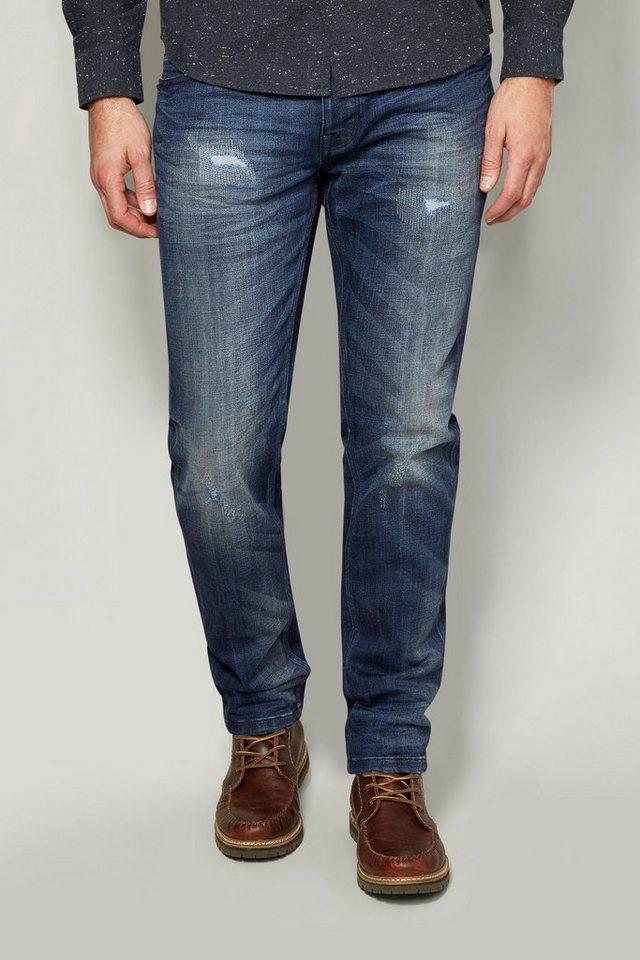 Next Slim-Fit Mid Blue Distressed Stretch-Jeans in Blau Slim-Fit