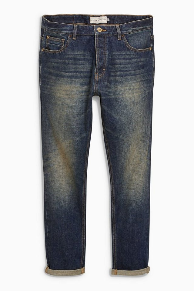 Next Tapered-Fit Dirty Denim Distressed Stretch-Jeans in Blau Tapered-Fit