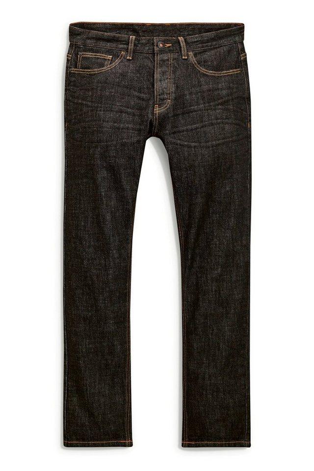 Next Straight-Fit Black Raw Denim Stretch-Jeans in Schwarz Straight-Fit