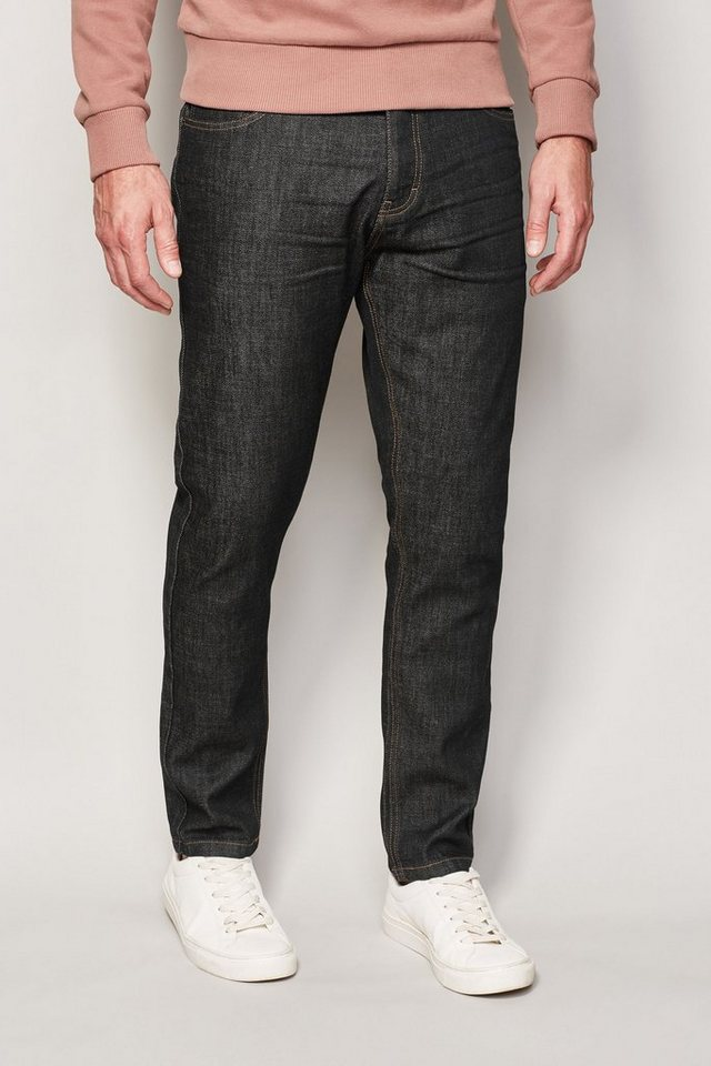 Next Tapered-Fit Raw Denim Stretch-Jeans in Schwarz Tapered-Fit