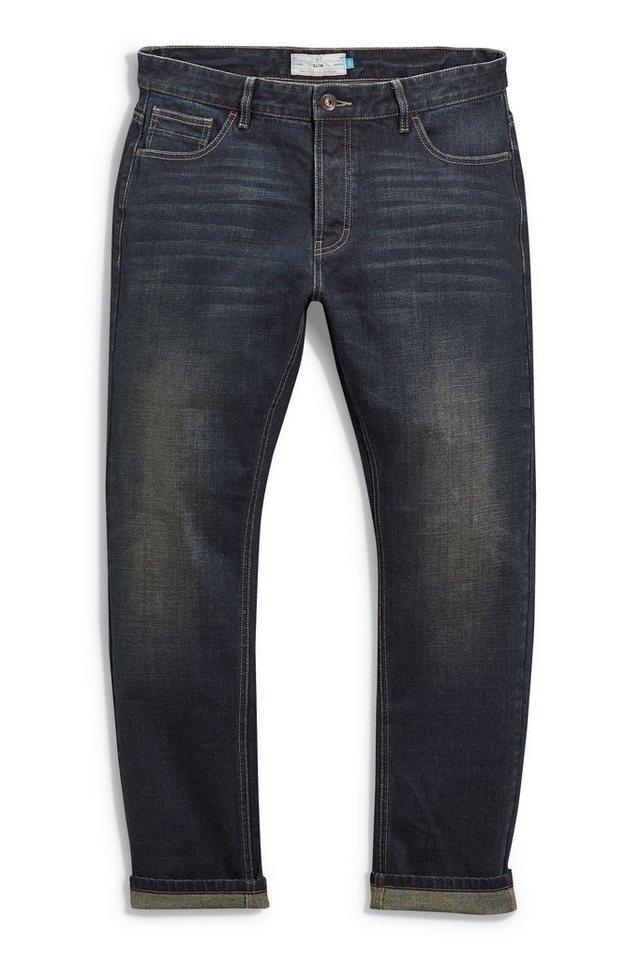 Next Slim-Fit Dirty Denim Stretch-Jeans in Blau Slim-Fit
