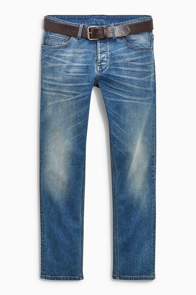 Next Slim-Fit Light Blue Stretch-Jeans mit Gürtel in Blau Slim-Fit