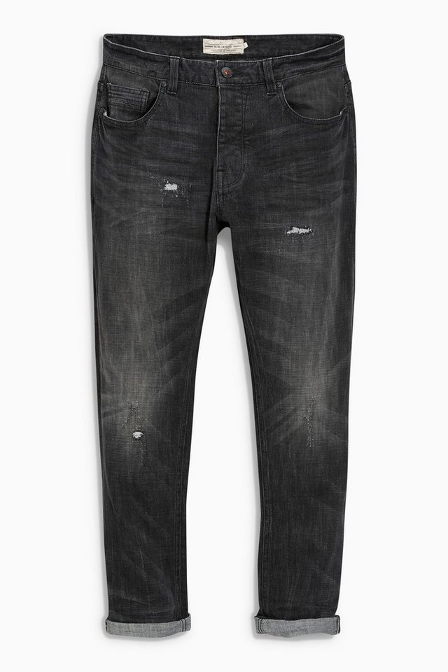 Next Tapered-Fit Washed Black Distressed Stretch-Jeans in Schwarz Tapered-Fit