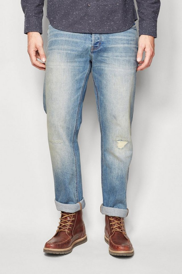 Next Straight-Fit Bleach Wash Distressed Stretch-Jeans in Blau Straight-Fit