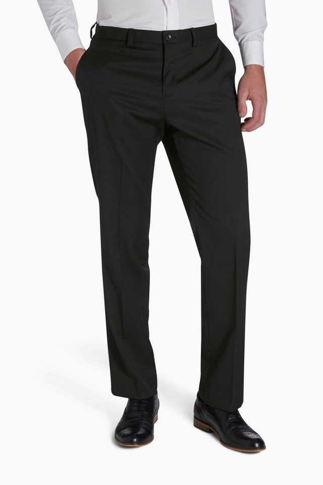 Next Hose aus Wollgemisch ohne Bundfalte in Schwarz Regular-Fit