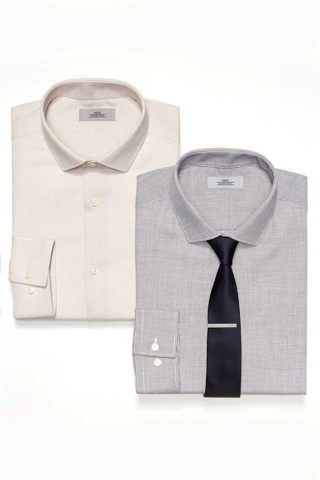 Next Gemustertes Hemd, einfarbiges Hemd und Krawatte im Set 3 teilig in Natural
