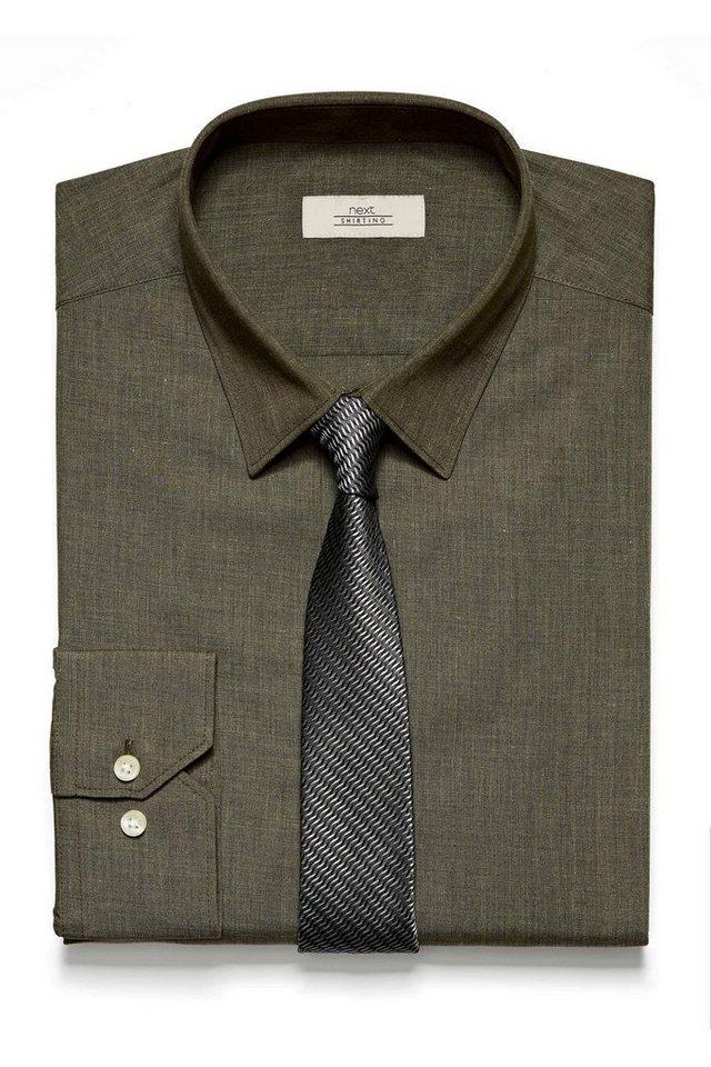 Next Slim-Fit-Hemd und Krawatte im Set 2 teilig in Khaki