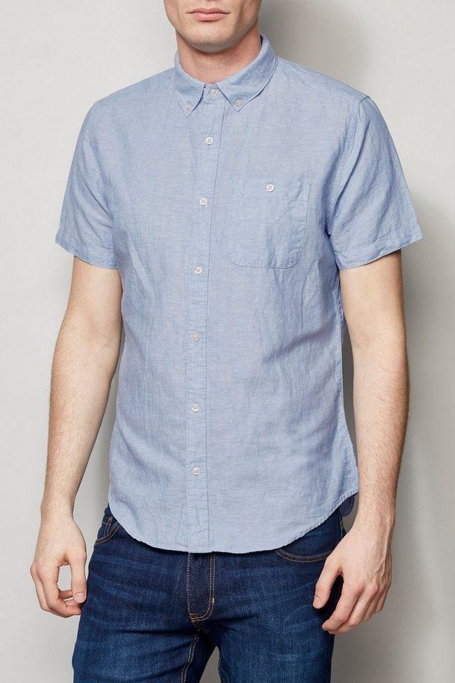 Next Kurzärmeliges Hemd aus Leinengemisch in Hellblau