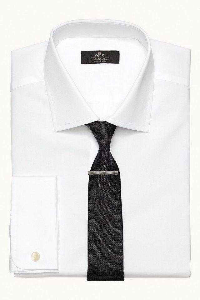 Next Hemd mit breitem Kragen in Weiß Slim-Fit Umschlagm.