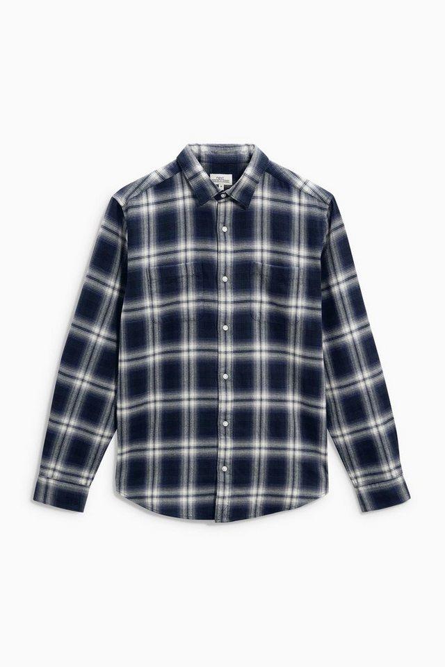 Next Hemd mit Windowpane-Karo in Blau
