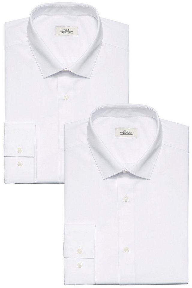 Next Einfarbige Hemden, 2er-Pack 2 teilig in Weiß Halbarm