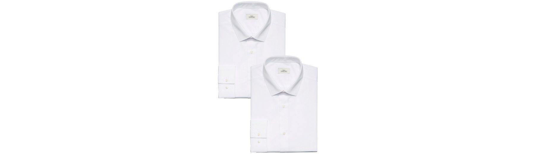 Next Unifarbige Hemden, weiß, 2er-Pack 2 teilig