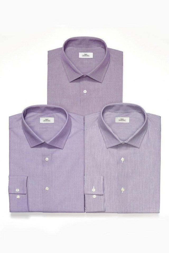 Next Lila strukturierte, gestreifte und einfarbige Hemden, 3er-Pack 3 teilig in Violettfarben