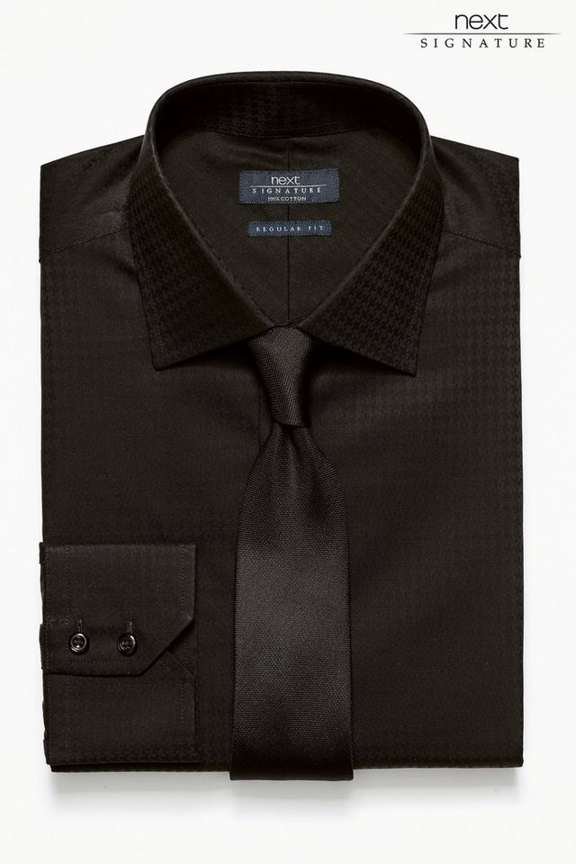 Next Hemd mit Hahnentrittmuster in Schwarz Regular-Fit