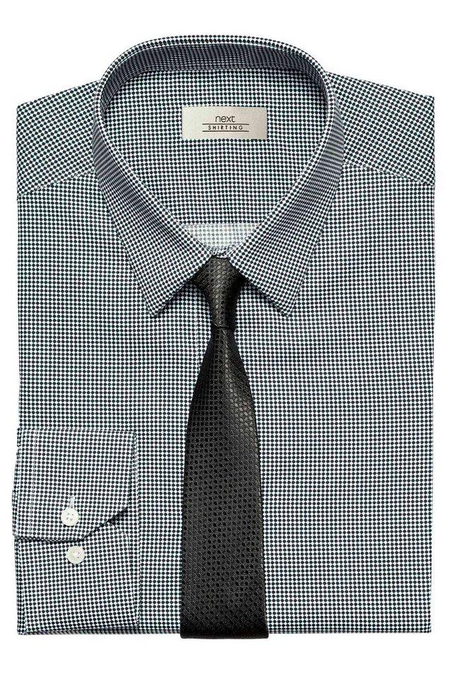 Next Schwarzweiß gemustertes Hemd und Krawatte im Set 2 teilig in Schwarz