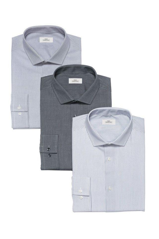 Next Karierte, gestreifte und einfarbige Slim-Fit-Hemden, 3er-Pack 3 teilig in Grey