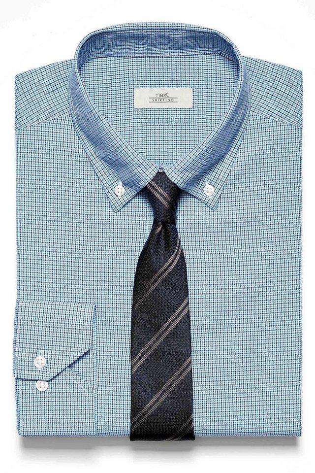 Next Hemd mit Pepitamuster und Krawatte im Set 2 teilig in Blau