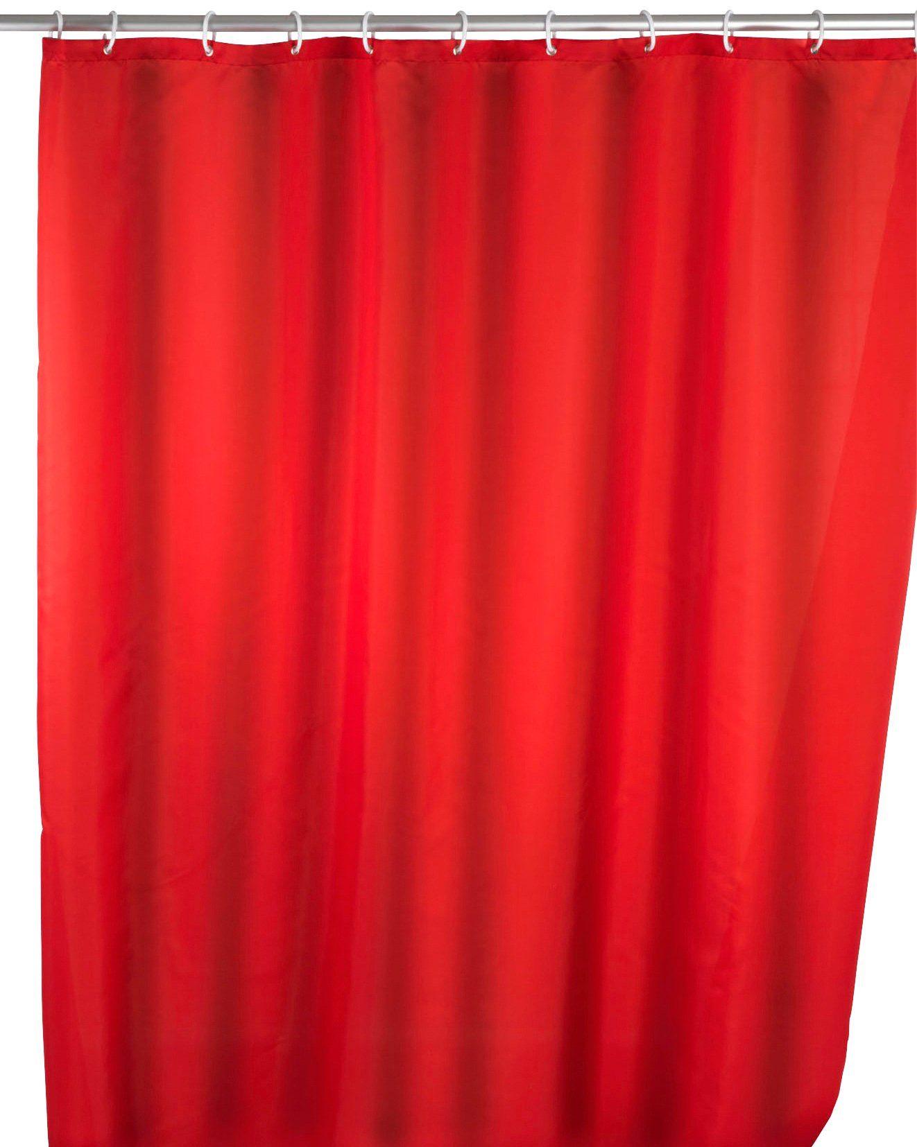 WENKO Duschvorhang »Uni Red«, Anti-Schimmel, 180 x 200 cm, waschbar
