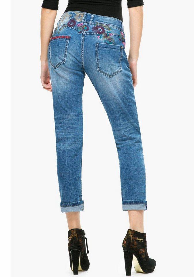 Desigual Boyfriend-Jeans »Sevilla« mit farbiger Stickerei in blue-stone