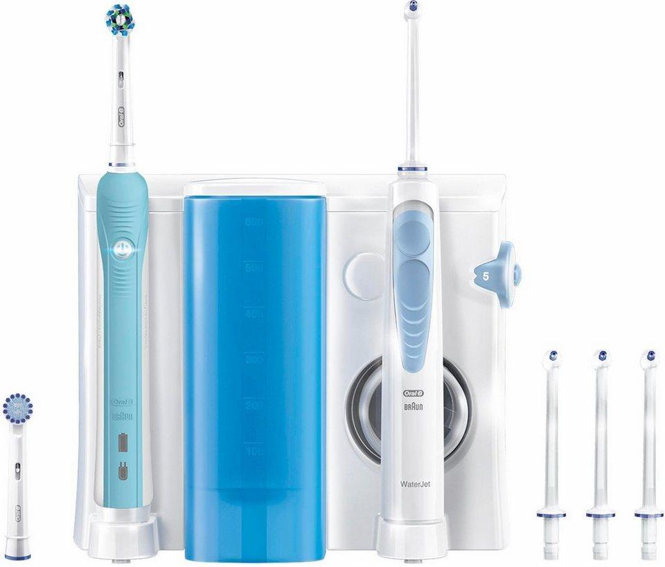 Oral-B Reinigungssystem WaterJet Munddusche + Oral-B PRO 700 elektrische Zahnbürste in weiß/blau