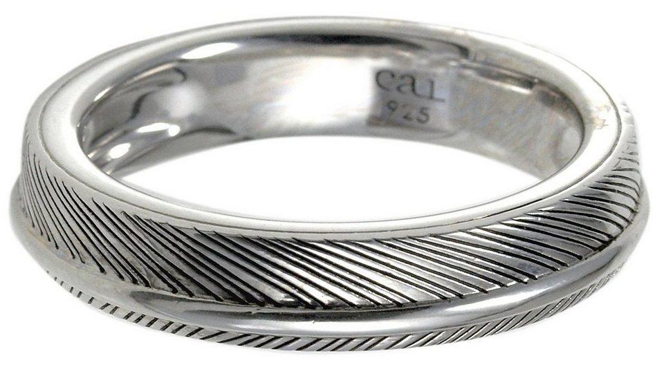 caï Men Ring, »feather, C4198R/90/00/« in Silber 925-schwarz