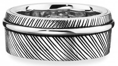 caï Men Ring, »feather, C4199R/90/00/62« in Silber 925-schwarz