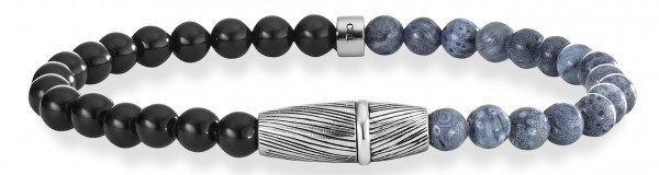 caï Men Armband mit Korallen und Onyx, »feather, C4200B/90/AK/21« in Silber 925-schwarz-grau