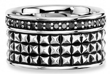 caï Men Ring mit Spinellen, »ROYAL PUNK, C4172R/90/L6/62« in Silber 925-schwarz