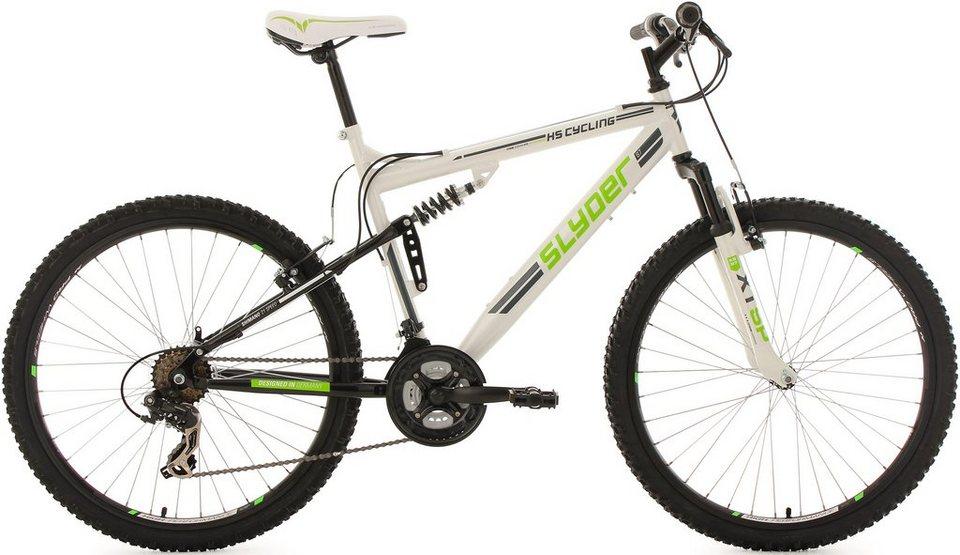 KS Cycling Fully Mountainbike, 26 Zoll, 21 Gang Shimano Tourney Kettenschaltung, »Slyder« in weiß-grün