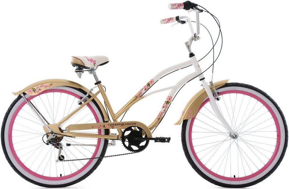 KS Cycling Beachcruiser, 26 Zoll, 6 Gang Shimano Kettenschaltung, Damen, »Cherry Blossom« in weiß-goldfarben