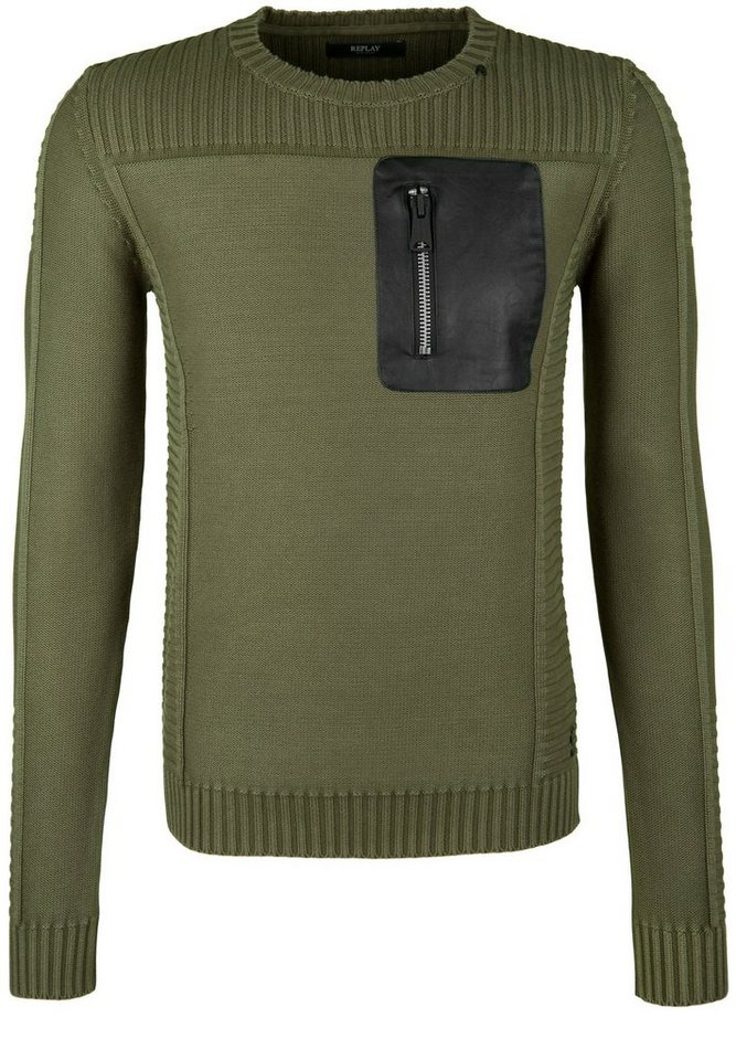 REPLAY Strickpullover »MIT FAKE-LEATHER-BRUSTTASCHE« in olive