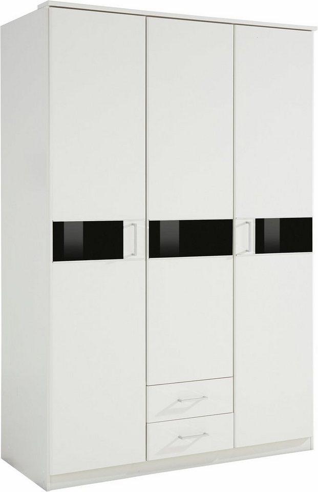 Wimex Kleiderschrank mit Schubkästen in weiß-Schwarzglas