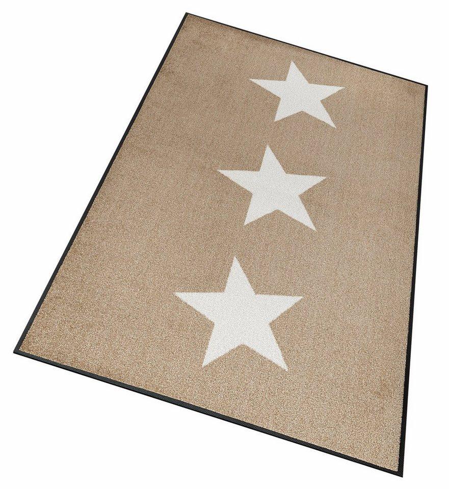 Läufer »Stars«, wash+dry by Kleen-Tex, rechteckig, Höhe 7 mm in beige