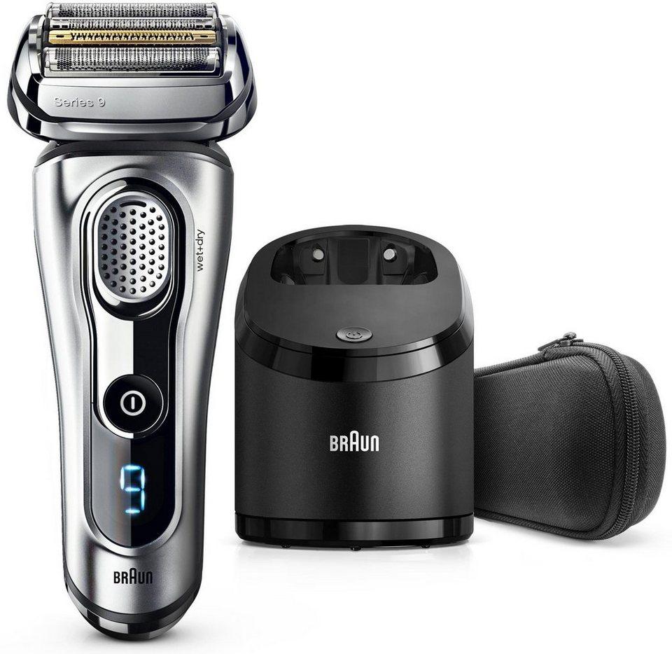 Braun Elektrorasierer Series 9 9290cc, Wet & Dry mit Reinigungsstation und Reise-Etui in silber