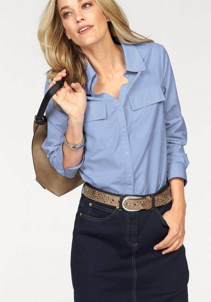 Corley Hemdbluse mit 2 Brusttaschen in hellblau